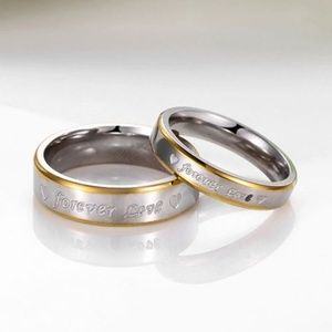 """Jewelry - 💎""""Forever Love"""" Her Stainless Steel Couple RingS6"""